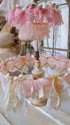 Large Lamp shade frame pink embellished shabby by AnitaSperoDesign, $270.00