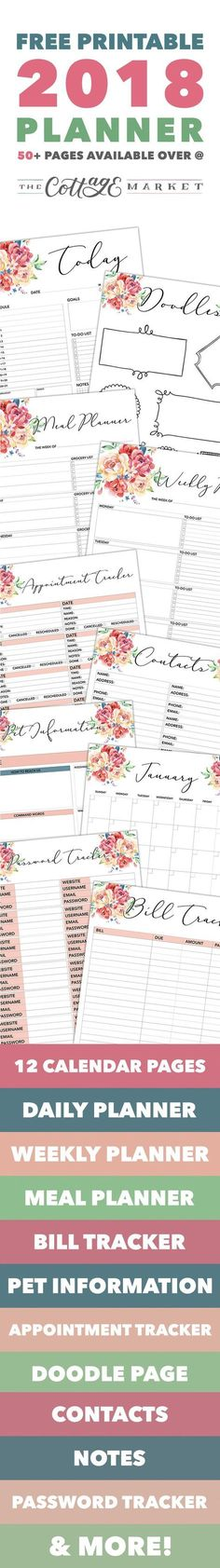 Free Printable 2018 Planner 50 Plus Printable Pages
