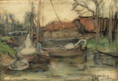 Platbodems in een binnenhaven, aquarel van 17,5 x 25 cm. Het werkje werd op 6 juli 2015 als onderdeel van kavel 3175 aangeboden door  veilinghuis Onder de Boompjes in Leiden. Het maakte onderdeel uit van een grote particuliere tekeningen collectie.