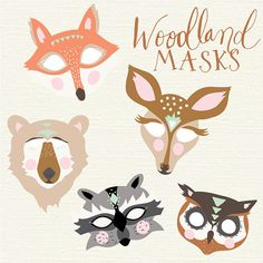 Cute handdrawn winter woodland animal clip art ready for for Woodland animal masks template