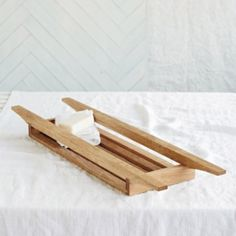 Nothing beats a natural wood finish in the bathroom, so we love this beautiful wooden bath tidy which is hand-crafted for us in Thailand from American white oak. Prop it across the bath to hold your sponges, soaps, loofahs or candles. Glasgow, Design Rustique, Bathroom Accessories Luxury, Bathroom Accesories, House Accessories, Wooden Bath, Bathroom Colors, Bathroom Ideas, Cool Ideas