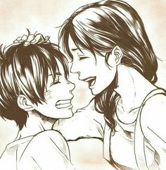 Eren, Carla, mother, mom, laughing; Attack on Titan