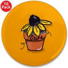 "Sunflower Cupcake 3.5"" Button (10 Pack)> flower> HAPPINESS RUSH"