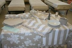 http://www.radicifabbrica.it/apparecchiatura-romantica/ Some of our Made in Italy products for your table clothing and kitchen decor (each linked to the page you can buy them online)