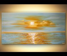 Original abstract art paintings by Osnat - modern palette knife abstract sea sunrise