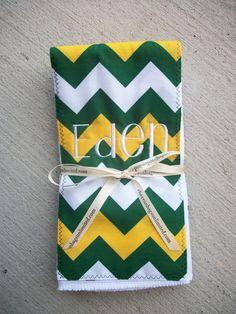 Personalized 3 Set #Baylor Green & Gold Chevron Cotton Baby Burp Cloths #SicEm