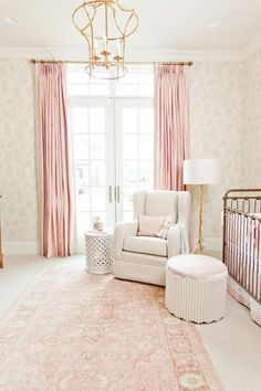 This timeless & elegant nursery uses Pantone's Rose Quartz perfectly. Home interiors - blush.