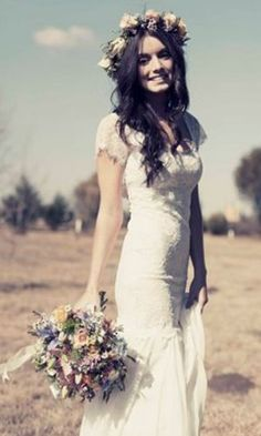 Bohemian Vintage Wedding Gown for a relaxed outdoor wedding!:: Flower Crown:: Vintage Wedding Gown:: Boho Bridal