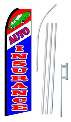 Auto Insurance Swooper Flag and Flagpole Set