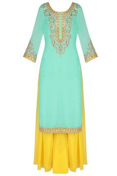 Turquoise mirror embroidered kurta and sharara set available only at Pernia's Pop Up Shop.