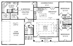Traditional House Plan First Floor - 077D-0039. I love this. Simple with everything we need.