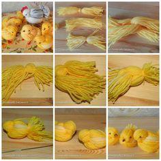 Petit tuto en image pour faire un poussin en laine - PicMonkey Collage