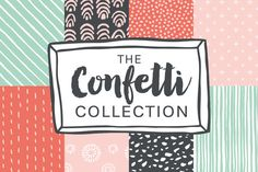 """Confetti""-Hand Drawn Patterns by DrawBabyDraw Designs on Creative Market"