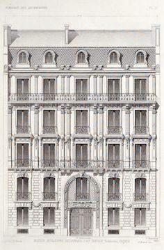 Ideas apartment design facade paris france for 2019 Haussmann Architecture, Architecture Art Nouveau, Parisian Architecture, Classic Architecture, Architecture Drawings, Facade Architecture, Historical Architecture, Building Elevation, Architecture Sketches