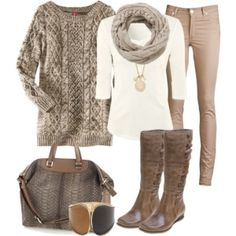 Comfy winter clothes i would put a colored tank on though
