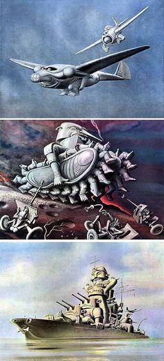 """Modern War Machines"" (1941) - Boris Artzybasheff - via www.StephenHunt.net"