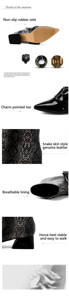Cowhide Snake Skin Style Ankle Boots For Women Ladies Superior Quality Sexy Patent Genuine Leather Pointed Toe Horse heel