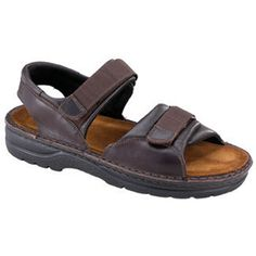 Naot Men's Andes, Style #: 69048-301 in Walnut | Naot Andes features outstanding comfort and durability. Made with smooth leather upper and hand sewn construction for long life and enhanced flexibility, this men's back strap sandal with webbing trim and a breathable suede lining and fold over hook and loop straps offer a secure customized fit. | Naot shoes available at www.TheShoeMart.com #TheShoeMart