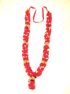 2 x Beautiful Rose Milni Haar / Jai Mala - Red/Gold