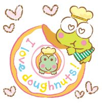 Keroppi Keroppi Wallpaper, Sanrio Characters, Fictional Characters, Atc Cards, Donuts, Butterflies, Hello Kitty, Goodies, Anime
