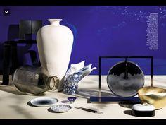 """""""Panoramas d'Asie"""" Photo : Philippe Garcia / Réalisation : Noémie Barré /  Ombra Tokyo, chaise, DESIGN CHARLOTTE PERRIAND, Cassina. Vase Trace Long, VANESSA MITRANI. Assiette, PAPIER TIGRE. Auguste, jarre, JEAN ROGER. Petite assiette, FLEUX. Blow Away, vase, SILVERA. Coupe à saké, THE WONDER 500. Jardin d'Éden, paire de baguettes, CHRISTOFLE. Orbe, lampe, design Patrick Naggar, VERONESE PARIS. Boîte Pandora, design Olivier Gagnère, GIEN. Bash, coupe, or, TOM DIXON. Peinture…"""