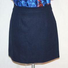 J. Crew Classic Mini in Navy Felted Wool Skirt Sz 2 New w Tags Style 14275 #JCrew #Mini