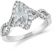 Zales 1-1/5 CT. T.W. Certified Marquise Diamond Frame Twist Engagement Ring in Platinum (H/SI2)