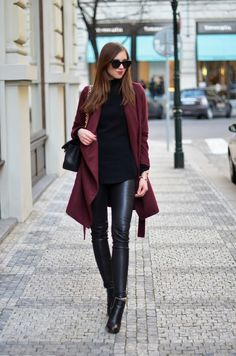 Burgundy coat + black leather pants outfit.