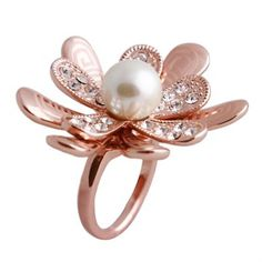 Rose Flower Ring with a Pearl $45