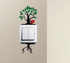 Tree cute squirrel light switch funny vinyl Love Heart decor funny wall art decal stickers Baseboard Kids