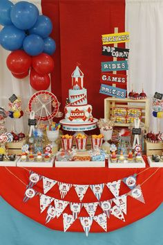 Amazing set up at a carnival party! See more party ideas at CatchMyParty.com!  #partyideas #carnival