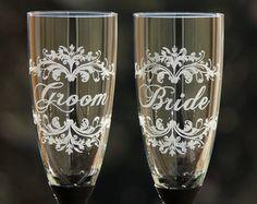 2 copas de boda grabadas - champagne vino tostadora flautas-novia y novio Damasco estilo