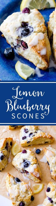 My go-to scone recipe filled with blueberries and topped with sweet and tangy lemon glaze to make the best Glazed Lemon Blueberry Scones! Recipe on sallysbakingaddiction.com