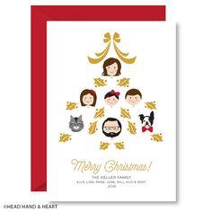 Personalized Holiday Card - Custom Illustrated Family Portrait - Custom Holiday…