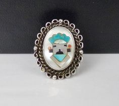 Old ZUNI Sterling Silver Juan Martinez Inlay by LittleBittreasures