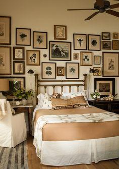 Lovely bedroom, calming colors, framed art, vintage bed Lauren Liess   Pure Style Home