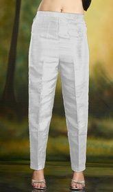Pencil Fit Cigarette Trousers White Silk Fabric #cigarettepants #silkcigarettepants Pencil fit cigarette trousers in white silk fabric. High waisted. Formal wear. USD$ 39(Around £ 27 & Euro 30)