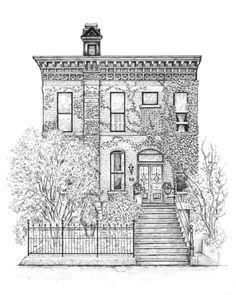 Detallados dibujos a tinta de las casas de Chicago,© Cape Horn Illustration