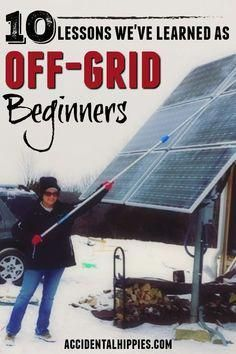 Our first year of living in an off the grid home has been an adventure! From solar power to rainwater harvesting, from wood heat to homestead security, THESE are ten of the biggest lessons we've learned so far as off-grid beginners.Living off the gri Solar Energy Panels, Best Solar Panels, Solar Energy System, Off Grid Solar Power, Solar Energy For Home, Off Grid Survival, Survival Skills, Homestead Survival, Wilderness Survival