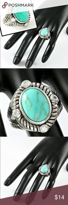 Gold High Polish Turquoise Large Ring Two Tone 18k Gold High Polish layered, high end jewelry. Turquoise Large Ring. The first three are stock photos. The others are of the actual Ring. Beautiful Fashion Jewelry!! Jewelry Rings