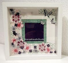 stampin up RIBBA gestalteter Rahmen Blumen und Schmetterlinge