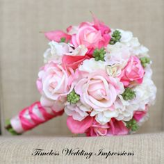 Pink Bouquet Wedding Bridal Roses Hydrangea by TimelessWedding, $150.00