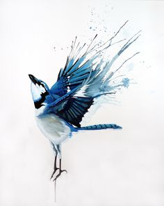 painting---This reminds e of how a bluebird or blue jay would feel so free after a cleansing splash!!!