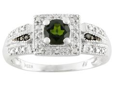 .54ct Round Russian Chrome Diopside, .01ctw Black And .02ctw White Diamond Accent Silver Ring