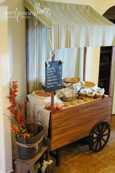 Hostess with the Mostess® - French Market Peddlers Wagon Dessert Cart Farmers Market Display, Market Displays, Food Displays, Store Displays, Parisian Party, Market Stands, Tea Cart, Thinking Day, Diy Party