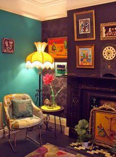 via sweet home style Style At Home, Estilo Kitsch, Living Spaces, Living Room, Living Area, Deco Boheme, Retro Home Decor, Vintage Decor, Eclectic Decor
