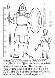 "bible coloring pages david and goliath | David and Goliath--Scripture, ""sticks & stones"" discussion ..."