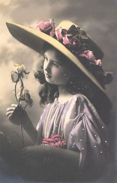girl with rosy large hat/ this would look lovely on my wall