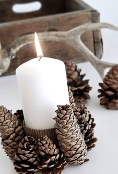 Pine Cone Candle Holder | Pine Cone Projects To DIY This Fall