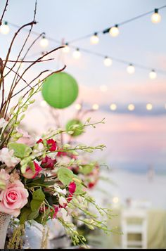 Lights, lanterns, and pretty flowers. What a beautiful start to a perfect party. Wedding Bells, Wedding Events, Our Wedding, Destination Wedding, Wedding Flowers, Wedding Planning, Dream Wedding, Summer Wedding, Wedding Dresses